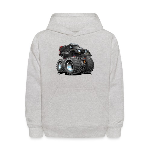 Off road 4x4 black jeeper cartoon - Kids' Hoodie