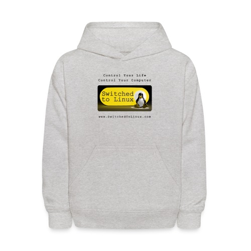 Switched to Linux Logo with Black Text - Kids' Hoodie