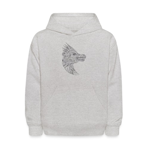 black art deco dragon head - Kids' Hoodie