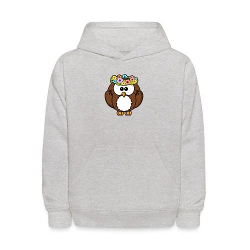 Owl With Flowers On Head T-Shirt - Kids' Hoodie