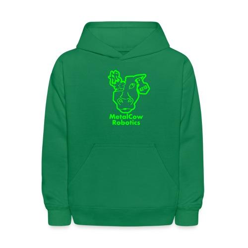 MetalCowLogo GreenOutline - Kids' Hoodie
