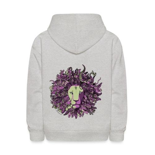 Purple and Green Lion - Kids' Hoodie