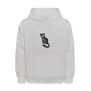 elegant-cat-with-bird-tattoo-design-5 - Kids' Hoodie