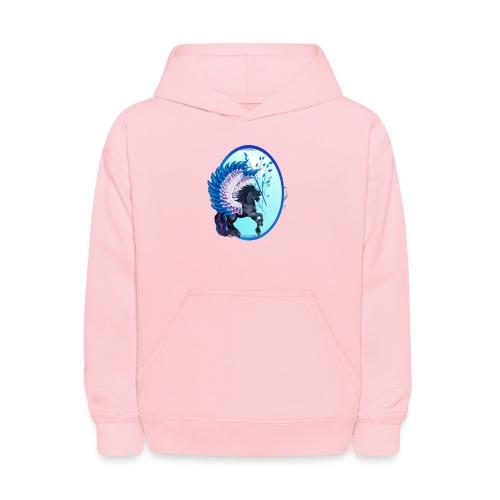 Blue Winged Pegasus Oval - Kids' Hoodie