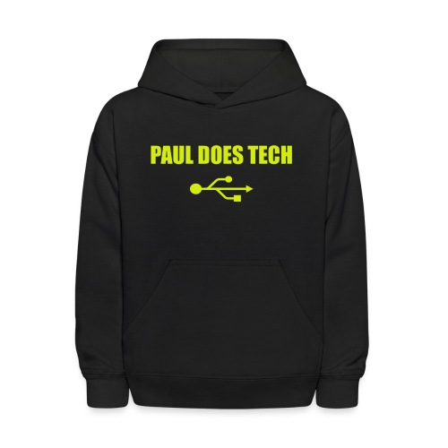 Paul Does Tech Yellow Logo With USB (MERCH) - Kids' Hoodie