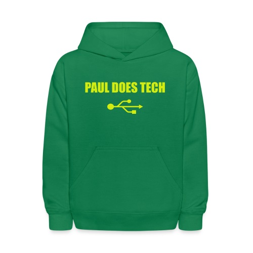 Paul Does Tech Yellow Logo With USB (MERCH) - Kids' Hoodie