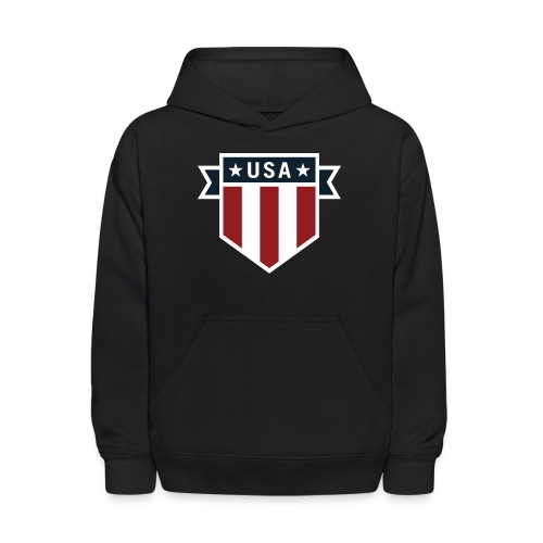 USA Pride Red White and Blue Patriotic Shield - Kids' Hoodie