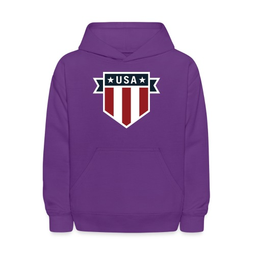 USA Pride Red White and Blue Patriotic Shield - Kids' Hoodie