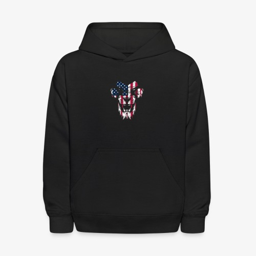 Lovely American Lion USA Flag Silhouette Portrait - Kids' Hoodie