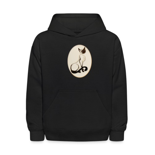Sitting Siamese Kitty Oval - Kids' Hoodie