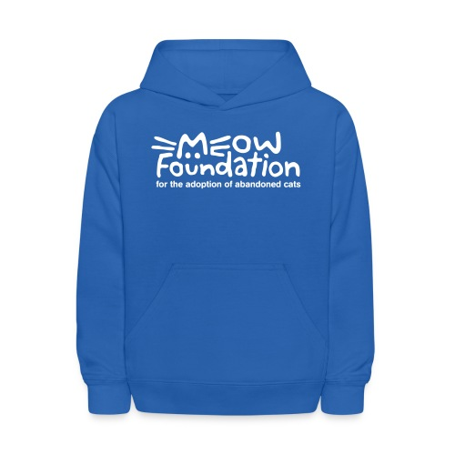 MEOW Foundation White Logo Tagline - Kids' Hoodie