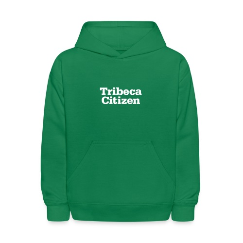 tribeca citizen stacked logo in white - Kids' Hoodie