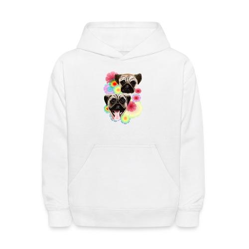 Happy Pug Grouchy Pug-Very bright flowers - Kids' Hoodie