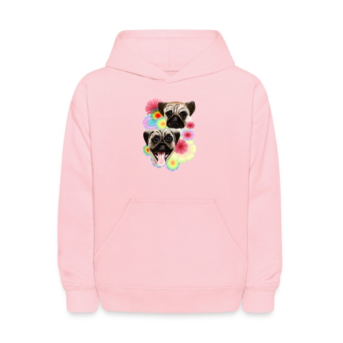 Happy Pug Grouchy Pug-Very bright flowers - Kids' Hoodie