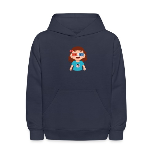 Girl red blue 3D glasses doing Vision Therapy - Kids' Hoodie