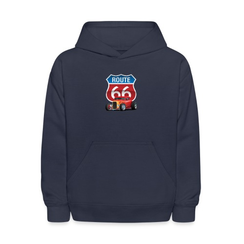 Route 66 Sign with Classic American Red Hotrod - Kids' Hoodie