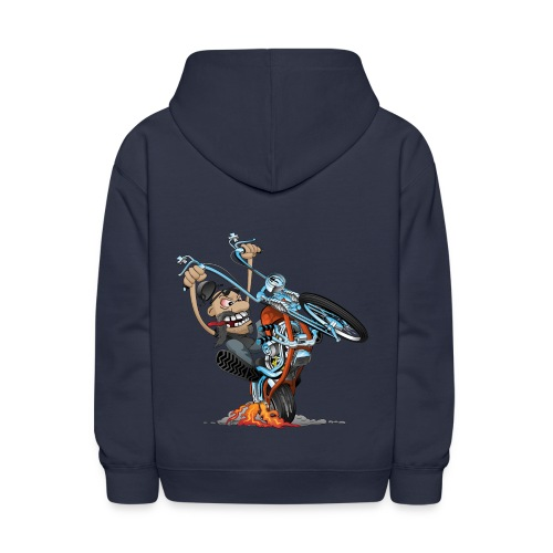 Funny biker riding a chopper cartoon - Kids' Hoodie