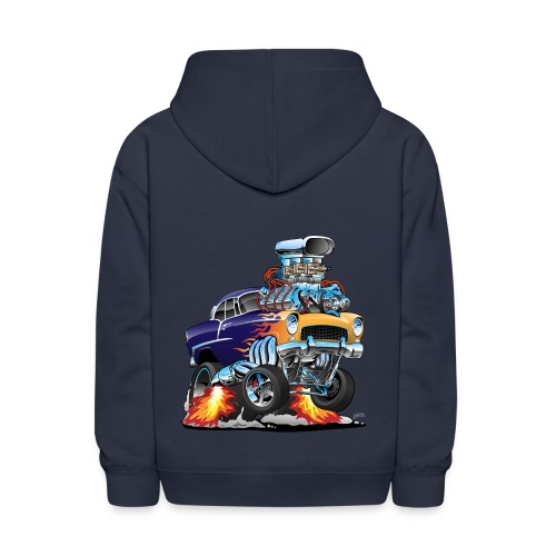 Classic Fifties Hot Rod Muscle Car Cartoon - Kids' Hoodie