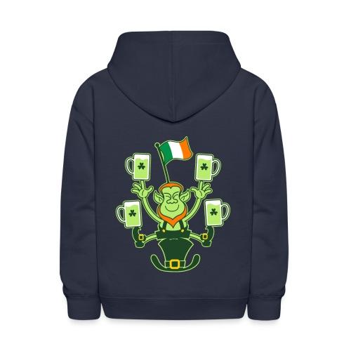Leprechaun Juggling Beers and Irish Flag - Kids' Hoodie