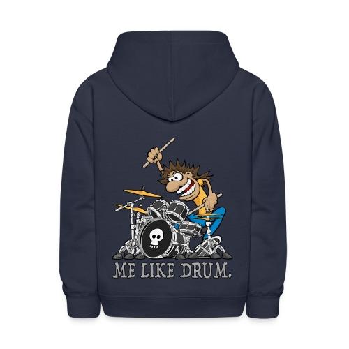 Me Like Drum. Wild Drummer Cartoon Illustration - Kids' Hoodie