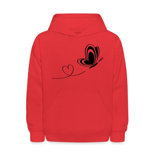 butterfly love heart wings insect - Kids' Hoodie