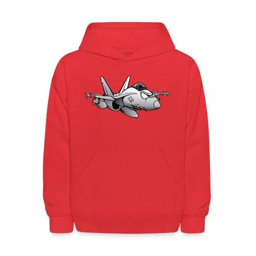 Military Fighter Attack Jet Airplane Cartoon - Kids' Hoodie