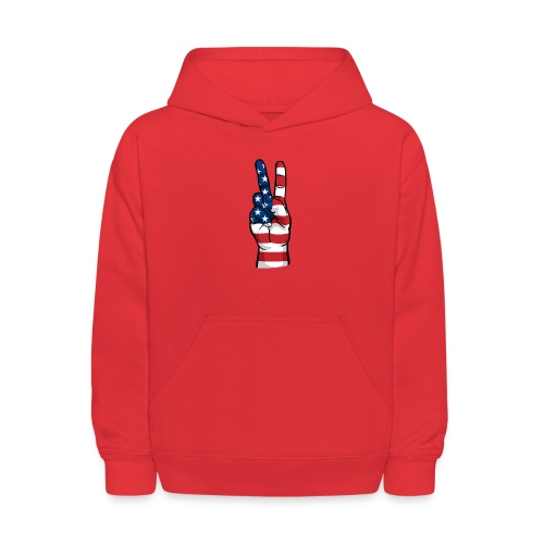 hand peace sign USA T small - Kids' Hoodie