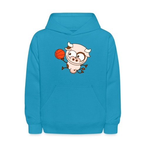 Cute cow playing basketball performs layup shot - Kids' Hoodie