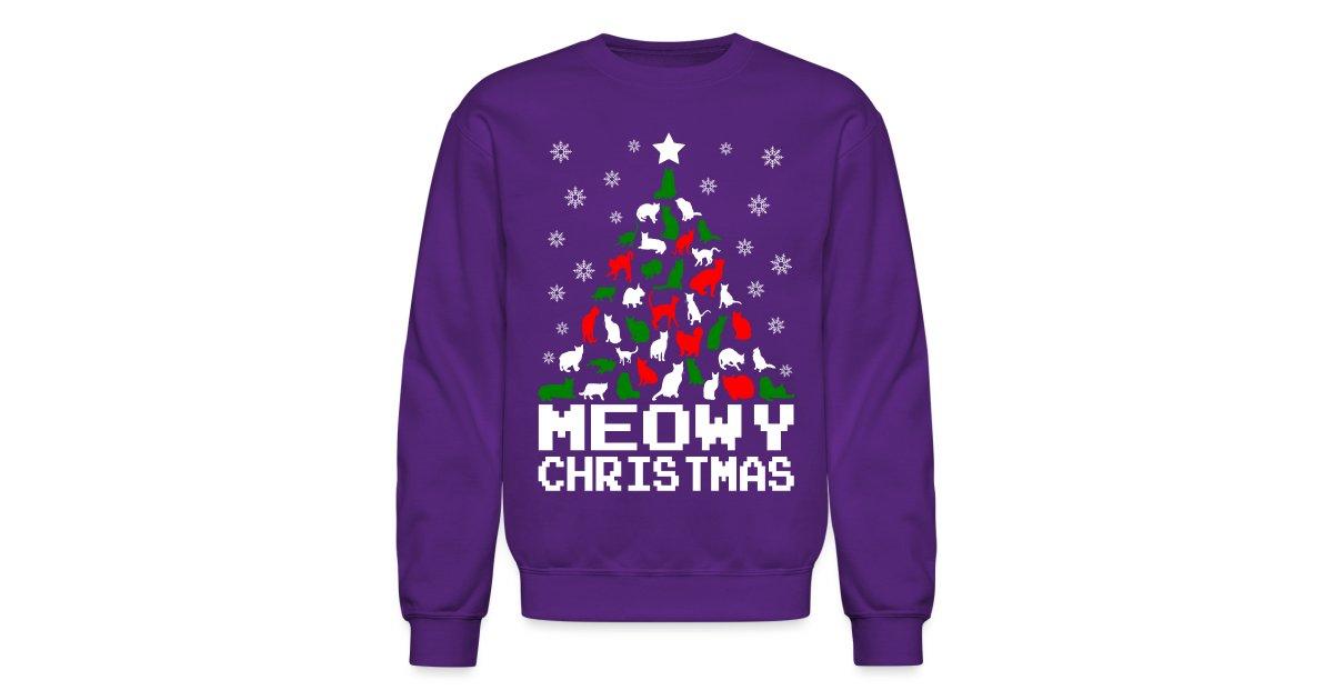 Meowy Christmas Sweater.Ethos Wear Design And Apparel Meowy Christmas Cat Tree Ugly Crewneck Sweatshirt