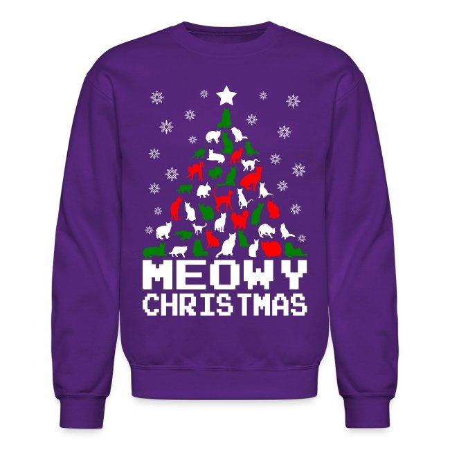 Christmas Cat Sweater.Meowy Christmas Cat Tree Ugly Crewneck Sweatshirt