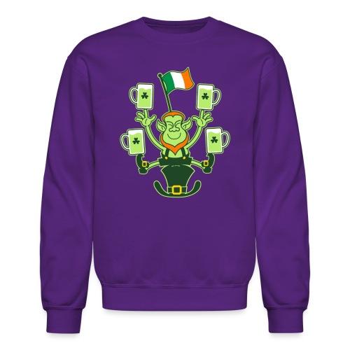 Leprechaun Juggling Beers and Irish Flag - Crewneck Sweatshirt