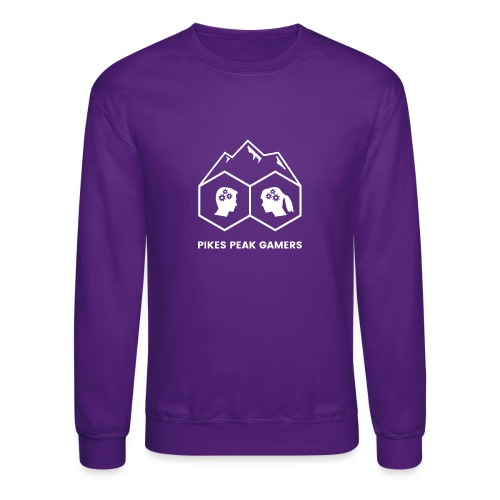 Pikes Peak Gamers Logo (Transparent White) - Crewneck Sweatshirt