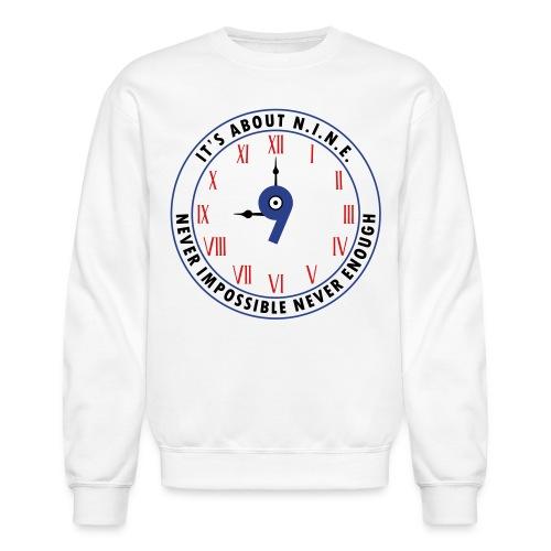 NINE Logo v2 2018 blue Outlines Red Numbers - Crewneck Sweatshirt