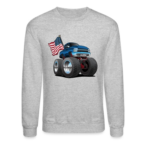 Monster Pickup Truck with USA Flag Cartoon - Crewneck Sweatshirt