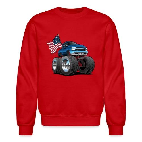 Monster Pickup Truck with USA Flag Cartoon - Crewneck Sweatshirt