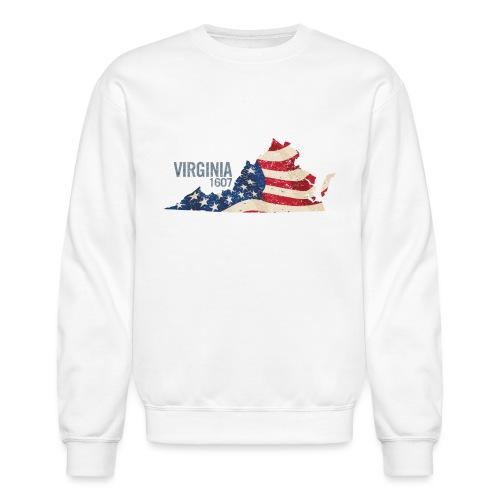 Virginia 1607 with USA Stars and Stripes - Crewneck Sweatshirt