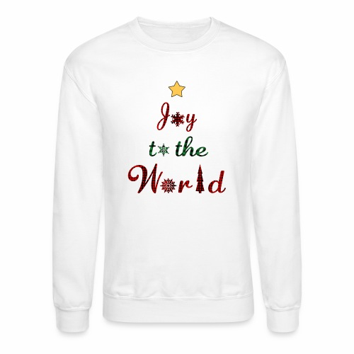 Joy to the world Christmas Tree Star Holiday Plaid - Unisex Crewneck Sweatshirt