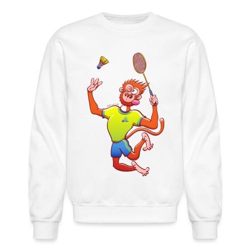 Red Monkey Playing Badminton - Crewneck Sweatshirt