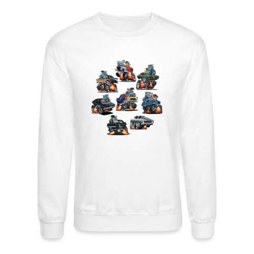 Car Crazy Classic Hot Rod Muscle Car Cartoons - Crewneck Sweatshirt