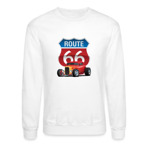 Route 66 Sign with Classic American Red Hotrod - Crewneck Sweatshirt