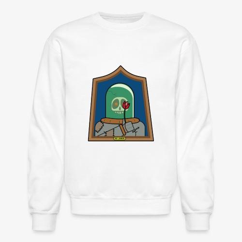 RIP Junior Sad Surreal Steampunk Skull with flower - Unisex Crewneck Sweatshirt