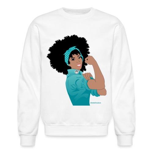 GlobalCouture WeCanDoIt TEAL Girl RGB png - Unisex Crewneck Sweatshirt