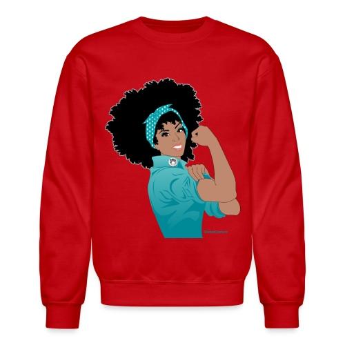 GlobalCouture WeCanDoIt TEAL Girl RGB png - Crewneck Sweatshirt