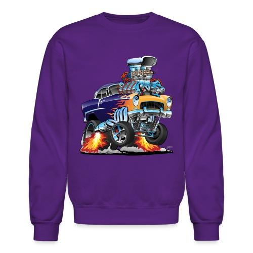 Classic Fifties Hot Rod Muscle Car Cartoon - Crewneck Sweatshirt