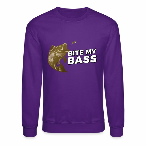 Bass Chasing a Lure with saying Bite My Bass - Crewneck Sweatshirt