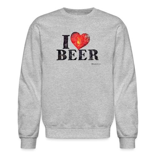 I Love Beer Distressed - Crewneck Sweatshirt