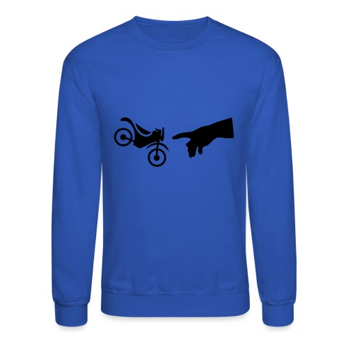 The hand of god brakes a motorcycle as an allegory - Unisex Crewneck Sweatshirt