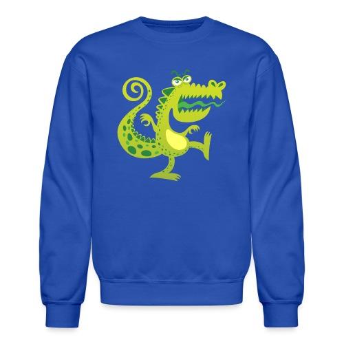 Scary reptile like monster growling in angry mood - Crewneck Sweatshirt