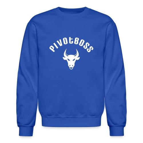 PivotBoss Curved Logo - White - Crewneck Sweatshirt