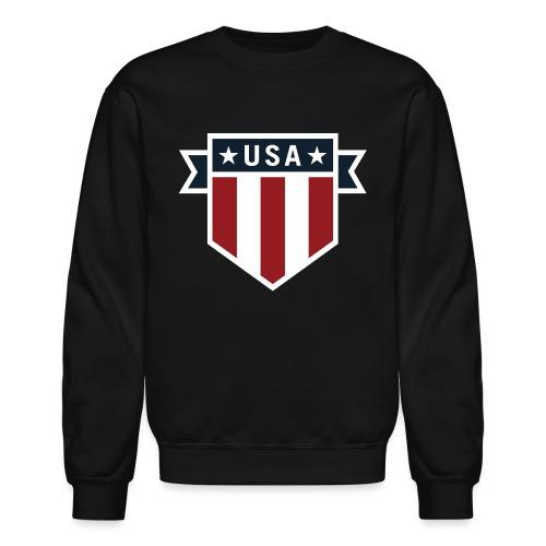USA Pride Red White and Blue Patriotic Shield - Crewneck Sweatshirt
